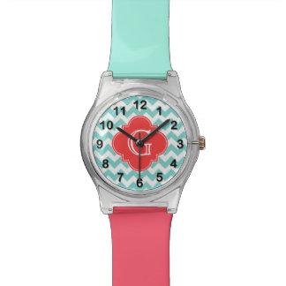 Turq / Aqua Wht Chevron Coral Quatrefoil Monogram Watch