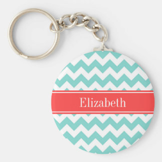 Turq / Aqua Wht Chevron Coral Red Name Monogram Basic Round Button Key Ring