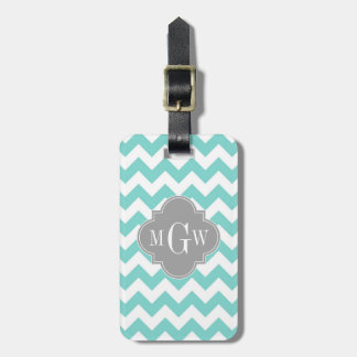 Turq / Aqua Wht Chevron Gray 3 Initial Monogram Bag Tag