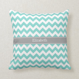 Turq / Aqua Wht Chevron Gray Name Monogram Throw Pillow