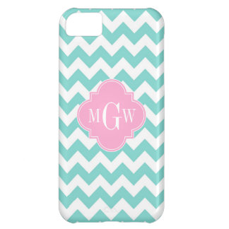 Turq / Aqua Wht Chevron Pink 3 Initial Monogram iPhone 5C Case