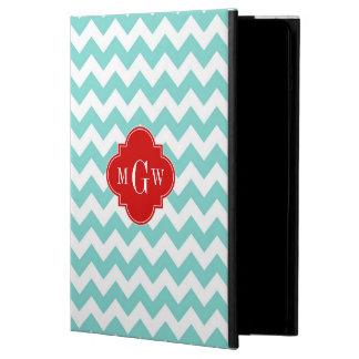 Turq / Aqua Wht Chevron Red 3 Initial Monogram iPad Air Cover