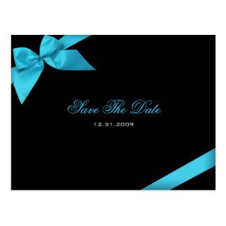 Turqoise Ribbon Wedding Invitation Save the Date Postcard