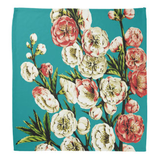 Turqoise Vintage Floral Pattern Bandana