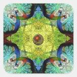 Turqoiuse kaleidoscope pattern novelty gifts square sticker