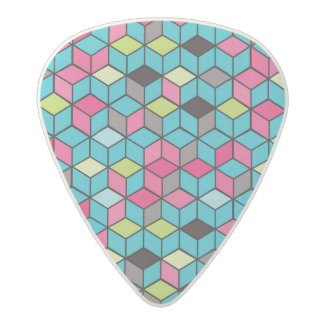 Turqouise and Pink Cube Pattern Acetal Guitar Pick