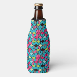 Turqouise and Pink Cube Pattern Bottle Cooler