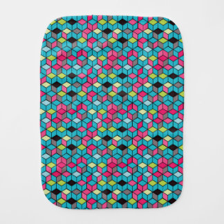 Turqouise and Pink Cube Pattern Burp Cloth