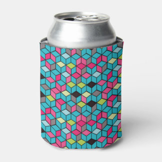 Turqouise and Pink Cube Pattern Can Cooler