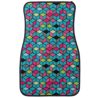 Turqouise and Pink Cube Pattern Car Mat