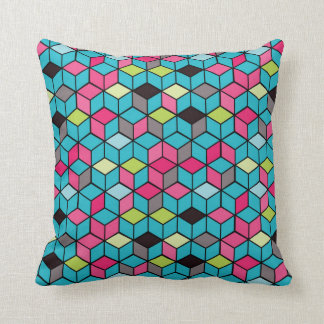Turqouise and Pink Cube Pattern Cushion