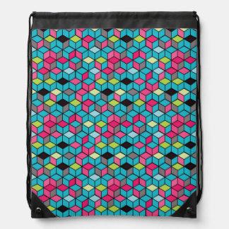 Turqouise and Pink Cube Pattern Drawstring Bag