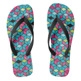 Turqouise and Pink Cube Pattern Flip Flops