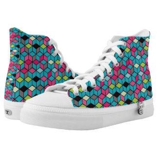Turqouise and Pink Cube Pattern High Tops
