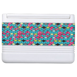 Turqouise and Pink Cube Pattern Igloo Cooler