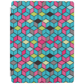 Turqouise and Pink Cube Pattern iPad Cover