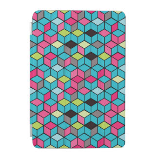 Turqouise and Pink Cube Pattern iPad Mini Cover