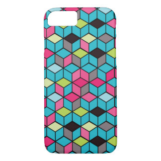 Turqouise and Pink Cube Pattern iPhone 8/7 Case