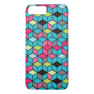 Turqouise and Pink Cube Pattern iPhone 8 Plus/7 Plus Case