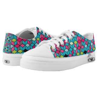 Turqouise and Pink Cube Pattern Low Tops