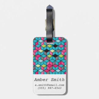 Turqouise and Pink Cube Pattern Luggage Tag