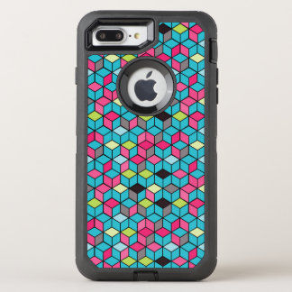 Turqouise and Pink Cube Pattern OtterBox Defender iPhone 8 Plus/7 Plus Case