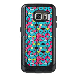 Turqouise and Pink Cube Pattern OtterBox Samsung Galaxy S7 Case