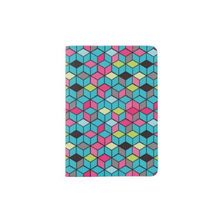 Turqouise and Pink Cube Pattern Passport Holder