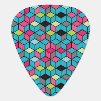 Turqouise and Pink Cube Pattern Plectrum