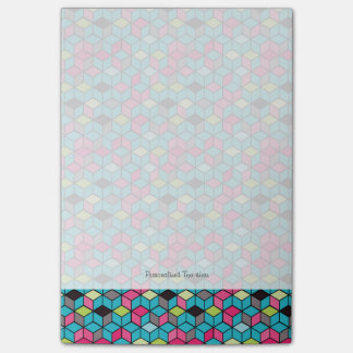 Turqouise and Pink Cube Pattern Post-it Notes