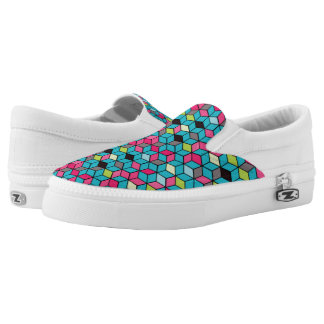 Turqouise and Pink Cube Pattern Slip-On Shoes