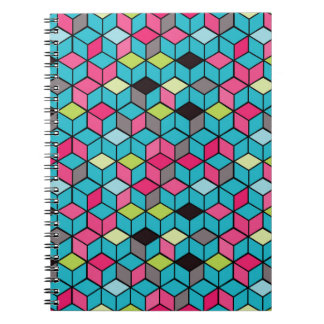 Turqouise and Pink Cube Pattern Spiral Note Books