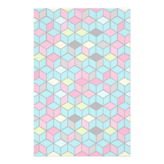 Turqouise and Pink Cube Pattern Stationery