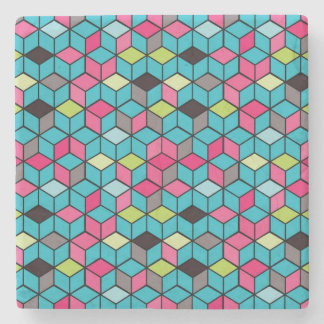 Turqouise and Pink Cube Pattern Stone Coaster