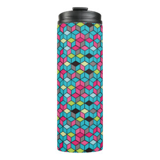 Turqouise and Pink Cube Pattern Thermal Tumbler