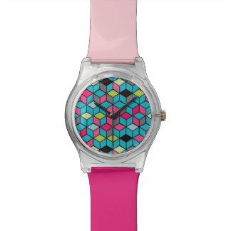 Turqouise and Pink Cube Pattern Watch