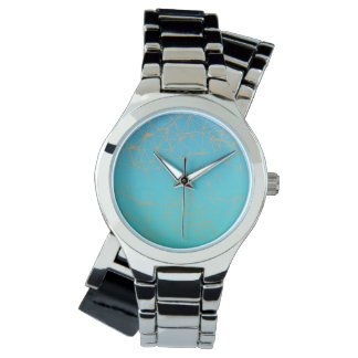 Turqouise Face with Gold Abstract lines Watch