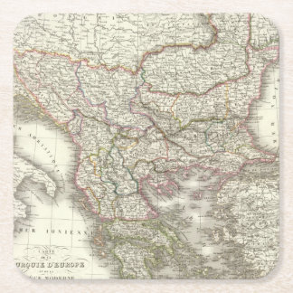 Turquie d'Europe, Grece - Turkey and Greece Square Paper Coaster