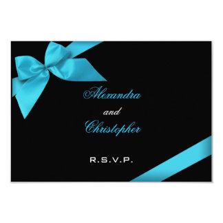 Turquise Ribbon Wedding RSVP 9 Cm X 13 Cm Invitation Card