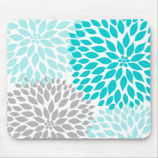 Turquoie blue gray dahlia desk office accessory mouse mat
