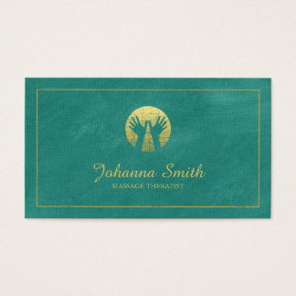 Turquois Canvas, Gold Frame, Hands Massage Therapy Business Card