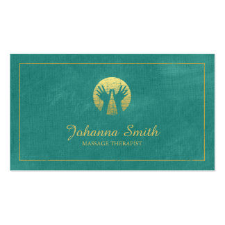 Turquois Canvas, Gold Frame, Hands Massage Therapy Pack Of Standard Business Cards