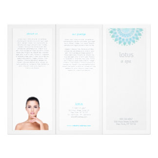 Turquois Mandala Lotus Spa Salon Tri-Fold Brochure