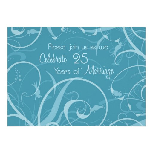Turquoise 25th Wedding Anniversary Invitation