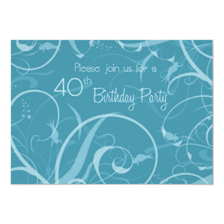 Turquoise 40th Birthday Party Invitation Cards