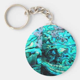 Turquoise abalone paua shell detail basic round button key ring
