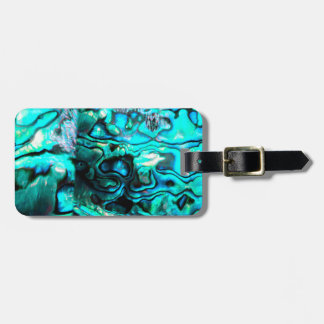 Turquoise abalone paua shell detail luggage tag