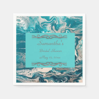 Turquoise Abstract Bridal Shower Napkins Disposable Napkin