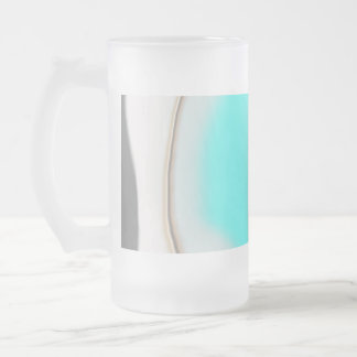 Turquoise Abstract Frosted Glass Beer Mug