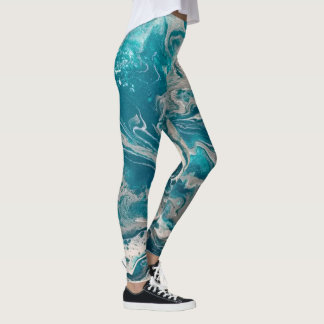Turquoise Abstract Leggings